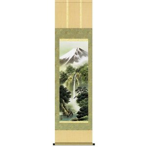掛け軸 「富士龍瀑」鈴村秀山作(彩色山水 掛軸)|e-kakejiku