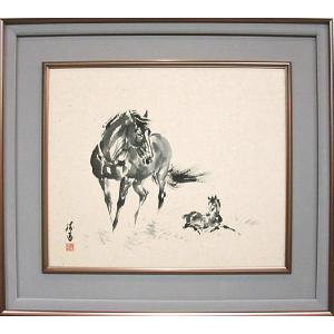 墨絵 「子馬」三輪勝馬作(馬専門画家)|e-kakejiku