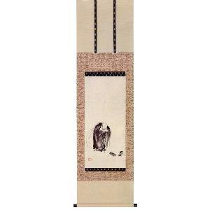 剣聖 宮本武蔵遺作木版画 「布袋見闘鶏図」 (美の掛軸・掛け軸)|e-kakejiku