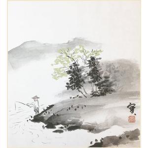 色紙 夏 渓畔釣魚 安藤實|e-kakejiku