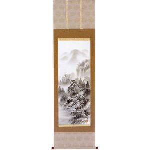 掛け軸 「水墨山水」松尾西峰作 (モダン インテリア 掛軸)|e-kakejiku
