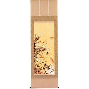 掛け軸 菊に小禽 小川朝陽作 秋の掛軸・菊の掛け軸|e-kakejiku