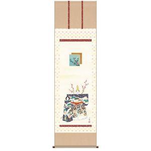 掛け軸 立雛 西尾香悦作 雛の掛軸 桃の節句の掛け軸 受注制作品|e-kakejiku