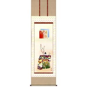 掛け軸 立雛 西尾香悦作 桃の節句 雛の掛軸 おひなさま掛け軸|e-kakejiku