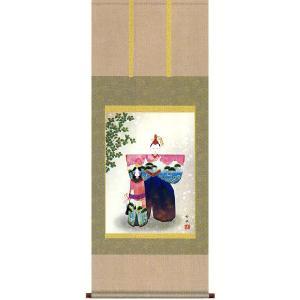 掛け軸 立雛 野川秀華作 雛の掛軸 桃の節句の掛け軸 受注制作品|e-kakejiku