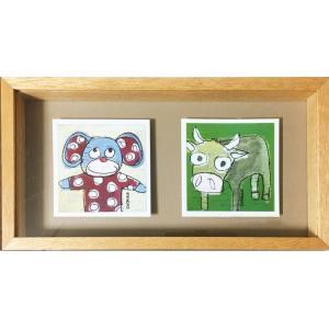 絵画 「ドットマウス&カウ」サンドリンヌ・ファーブル (絵画 イラスト)|e-kakejiku