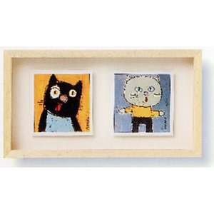 絵画 「ブラウンキャット&ホワイトキャット」サンドリンヌ・ファーブル (絵画 イラスト)|e-kakejiku