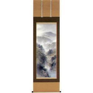 掛け軸 「彩色山水」 三浦晴堂作 (モダン インテリア 掛軸)|e-kakejiku