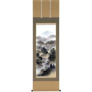 掛け軸 「彩色山水」 小谷春風作 (モダン インテリア 掛軸)|e-kakejiku