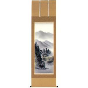 掛け軸 「彩色山水」 北村草山作 (モダン インテリア 掛軸)|e-kakejiku