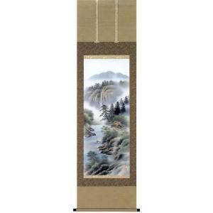 掛け軸 「彩色山水」 佐藤風月作 (モダン インテリア 掛軸)|e-kakejiku