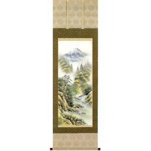 掛け軸 「彩色山水」 今井祥堂作 (モダン インテリア 掛軸)|e-kakejiku