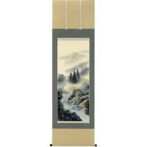 掛け軸 「彩色山水」 小川映月作 (モダン インテリア 掛軸)|e-kakejiku