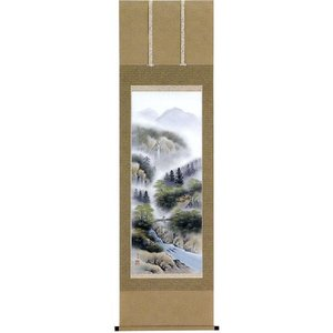 掛け軸 「彩色山水」 林春生作 (モダン インテリア 掛軸)|e-kakejiku