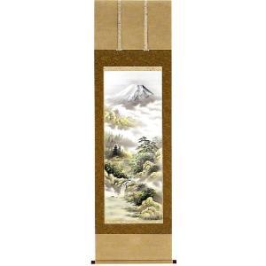 掛け軸 「富士山水」 石山梅渓作 (モダン インテリア 掛軸)|e-kakejiku