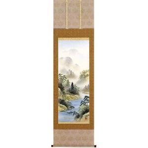 掛け軸 「彩色山水」 松尾西峰作 (モダン インテリア 掛軸)|e-kakejiku