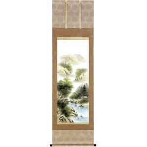 掛け軸 「彩色山水」 宮崎東雲作 (モダン インテリア 掛軸)|e-kakejiku