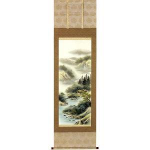 掛け軸 「彩色山水」 上野白映作 (モダン インテリア 掛軸)|e-kakejiku