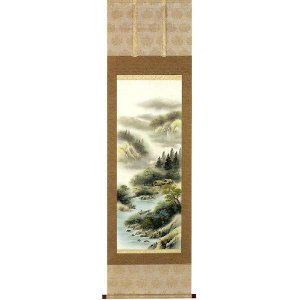 掛け軸 「彩色山水」 上野白映作(お買得!特選掛軸・掛け軸)|e-kakejiku