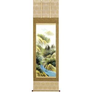 掛け軸 「彩色山水」 森春雪作 (モダン インテリア 掛軸)|e-kakejiku