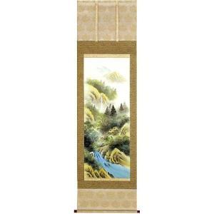 掛け軸 「彩色山水」 森春雪作(お買得!特選掛軸・掛け軸)|e-kakejiku