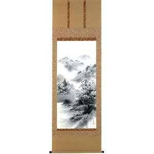 掛け軸 「水墨山水」 津隈大泉作 (モダン インテリア 掛軸)|e-kakejiku