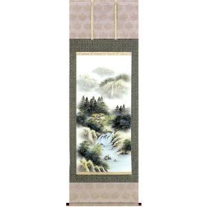 掛け軸 「彩色山水」 梅田晴山作 (モダン インテリア 掛軸)|e-kakejiku