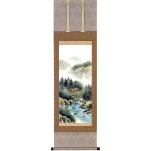 掛け軸 「彩色山水」 梅田晴山作(お買得!特選掛軸・掛け軸)|e-kakejiku