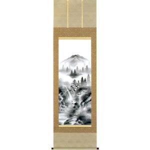 掛け軸 「水墨山水」 小池玉泉作 (モダン インテリア 掛軸)|e-kakejiku