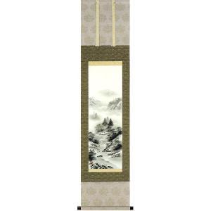 掛け軸 「水墨山水」 杉山白雲作 (モダン インテリア 掛軸)|e-kakejiku