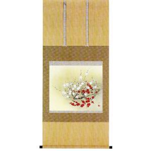 掛け軸 「紅白梅」 前川伸作 花鳥 掛軸|e-kakejiku