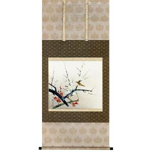 掛け軸 「梅に鶯」 脇田玲舟作 冬の掛軸 e-kakejiku
