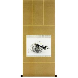 掛け軸 「白椿」 柳沢寿江作 花鳥 冬の掛軸 尺五横 モダン 掛軸 販売 床の間 受注制作品|e-kakejiku