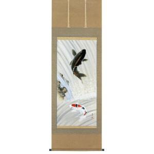 掛け軸 滝上り鯉 仲田龍安作 鯉の掛軸 モダン 掛軸 販売 床の間 受注制作品|e-kakejiku