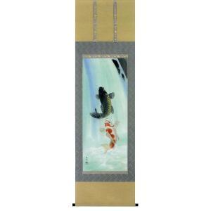 掛け軸 夫婦滝上り鯉 松橋玉昇作 鯉の掛軸 モダン 掛軸 販売 床の間 受注制作品|e-kakejiku