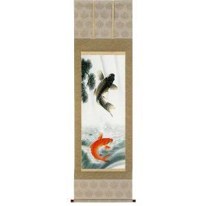 掛け軸 滝上り鯉 北村晴方作 鯉の掛軸 モダン 掛軸 販売 床の間 受注制作品|e-kakejiku