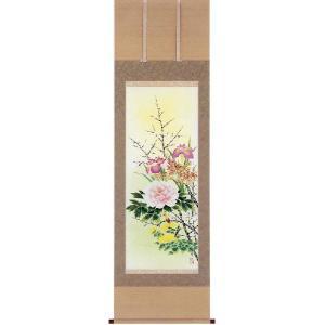 掛け軸 「四季草花」 真島東紅作 (花鳥の掛軸)|e-kakejiku