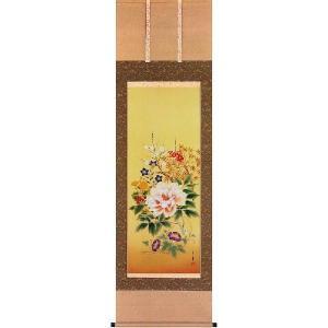 掛け軸 「四季草花」 新井月華作(花鳥の掛軸)|e-kakejiku
