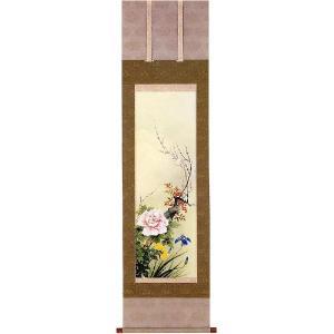 掛け軸 「四季草花」 松田香邦作 (花鳥の掛軸)|e-kakejiku