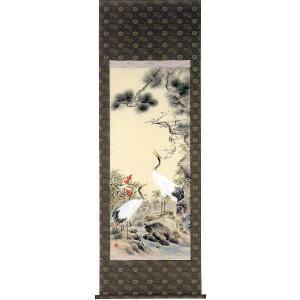 掛け軸「松竹梅鶴亀」村山静苑作(お正月・結納・慶事用の掛軸)尺八立|e-kakejiku
