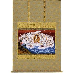 掛け軸 「阿弥陀聖衆来迎図」山口仙華作 (仏事用の掛軸)|e-kakejiku