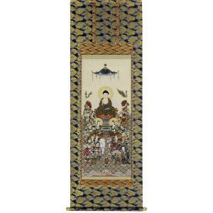掛け軸 「十六善神」園田秀園作 仏事用の掛軸 モダン 掛軸 販売 床の間 受注制作品|e-kakejiku