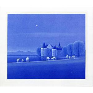 絵画 F20号「水辺の城」 松浦敬文 作(油絵)|e-kakejiku