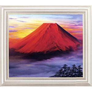 絵画 F20号「赤富士」 森田浩二 作(油絵)|e-kakejiku