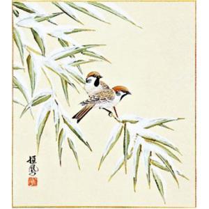 色紙「竹に雀」島田恒鳳作|e-kakejiku