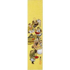 短冊「七福神」下條春草画伯 (季節や月ごとに楽しめる短冊) e-kakejiku