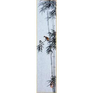 短冊「竹に雀」小栗春峰画伯 (季節や月ごとに楽しめる短冊)|e-kakejiku