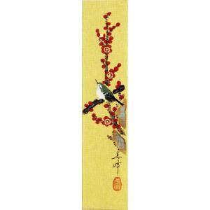 短冊「紅梅に鶯」小栗春峰画伯 (季節や月ごとに楽しめる短冊)|e-kakejiku