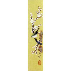 短冊「梅に鶯」小栗春峰画伯 (季節や月ごとに楽しめる短冊)|e-kakejiku