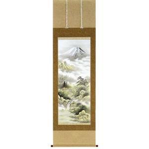 掛け軸「富士山水」石山梅渓作【送料無料】 e-kakejiku